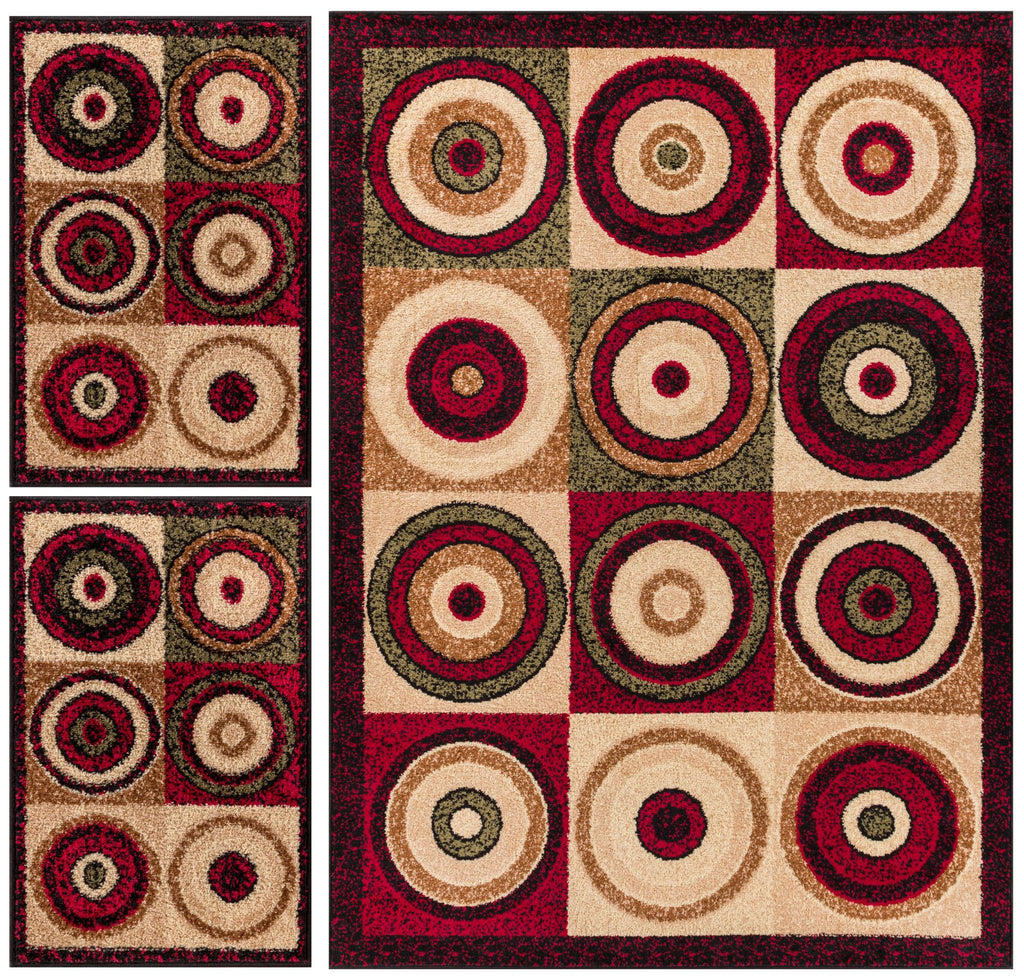 Billy Rings Abstract Geometric Modern Color Block Circles Area Rug Set