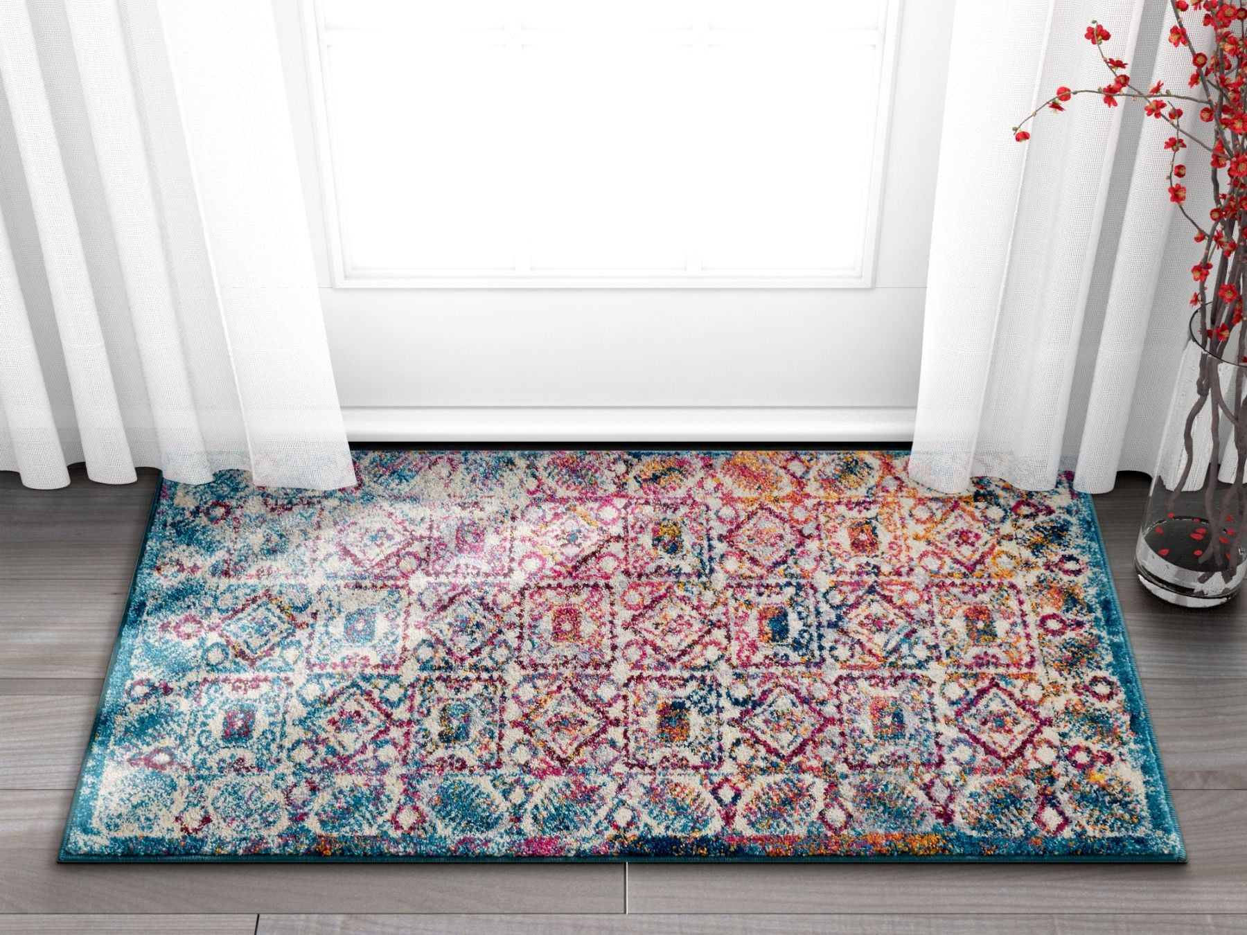 Imani boho terrace blue red distressed vintage area rug panel