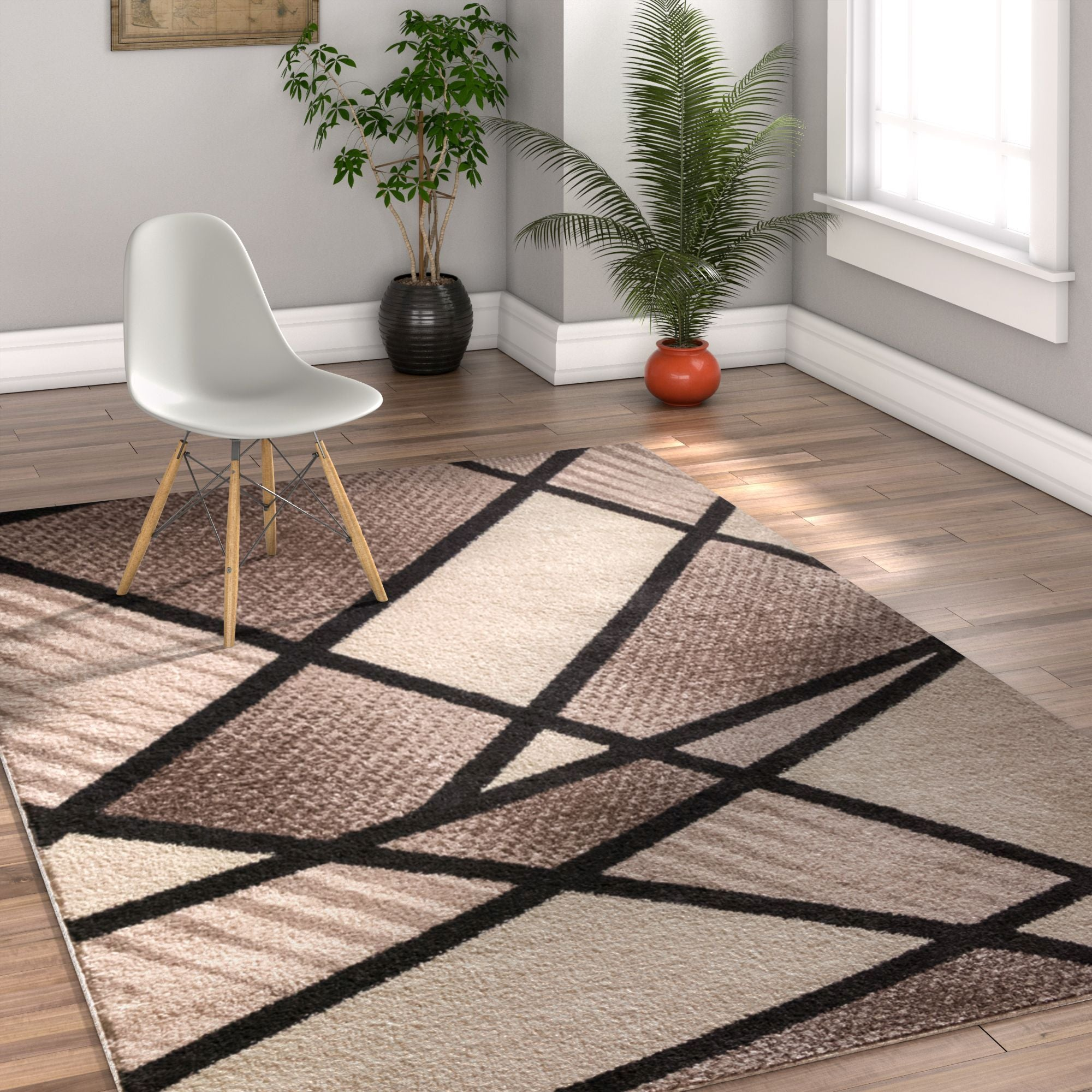 Soho Brown Beige Modern Geometric Boxes Stripes Triangles Area Rug Ruglots Com