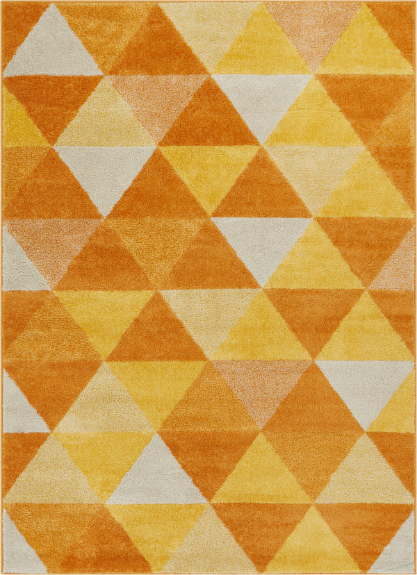 Isometry Orange Yellow Modern Geometric Triangle Pattern
