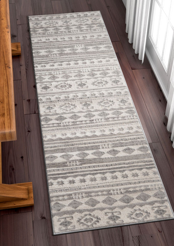 Mezzo Vintage Area Rug Ivory Grey Softex High Low Pile