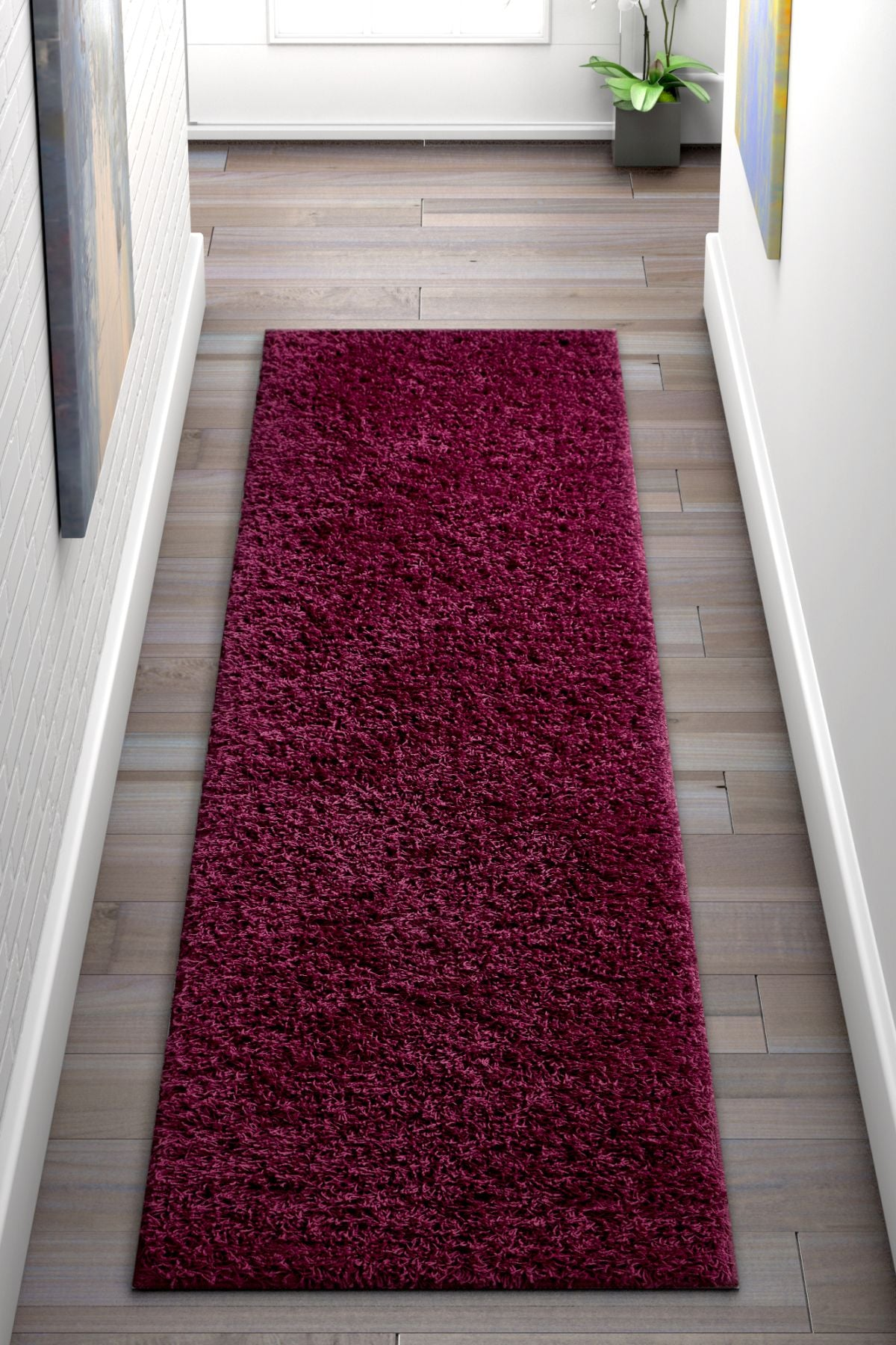 Soft And Fluffy Non Slip Shag Rug Solid Color Plum Purple Area Rug