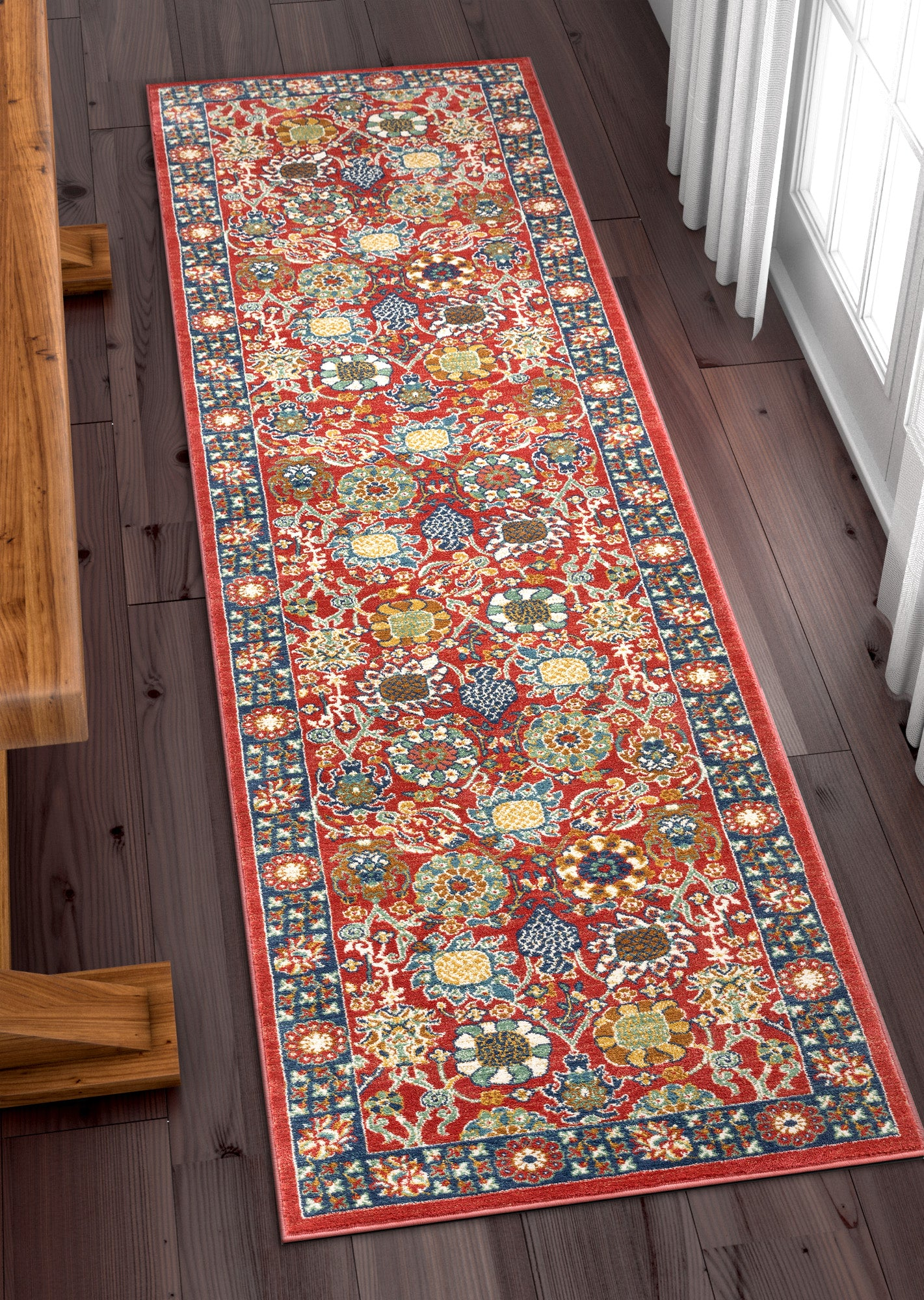 Marla Red Traditional Floral Runner Rug