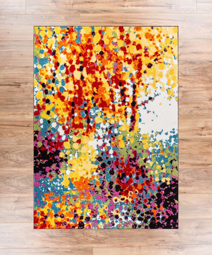 Impasto Multi Geometric Red Yellow Blue Modern Abstract Painting Area Rug