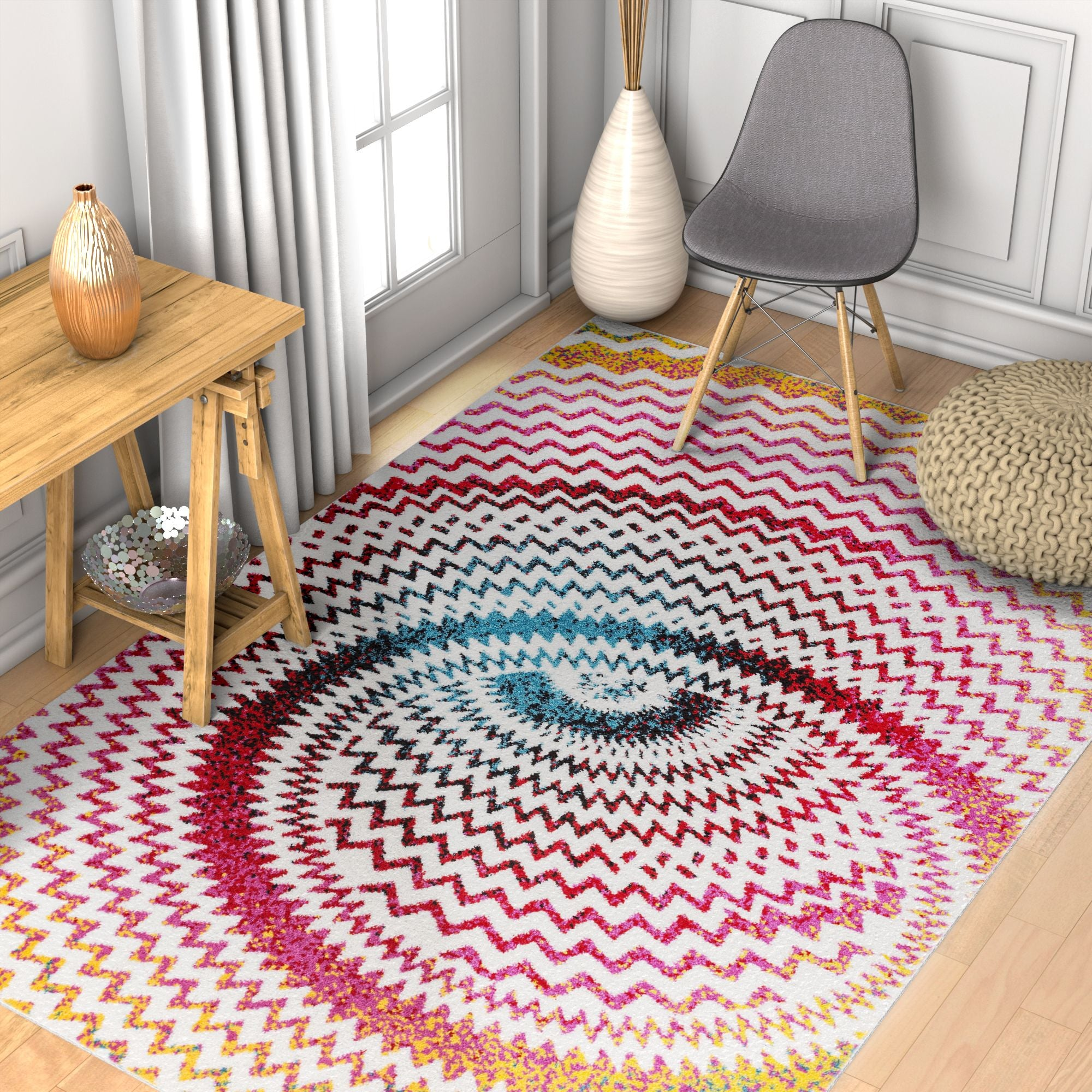 Warp Multi Chevron Red Blue Yellow Green Zigzag Modern Abstract 3d Area Rug Easy Clean Stain Fade Resistant Shed Free Contemporary Geometric Thick Soft Plush Living Dining Room Ruglots Com