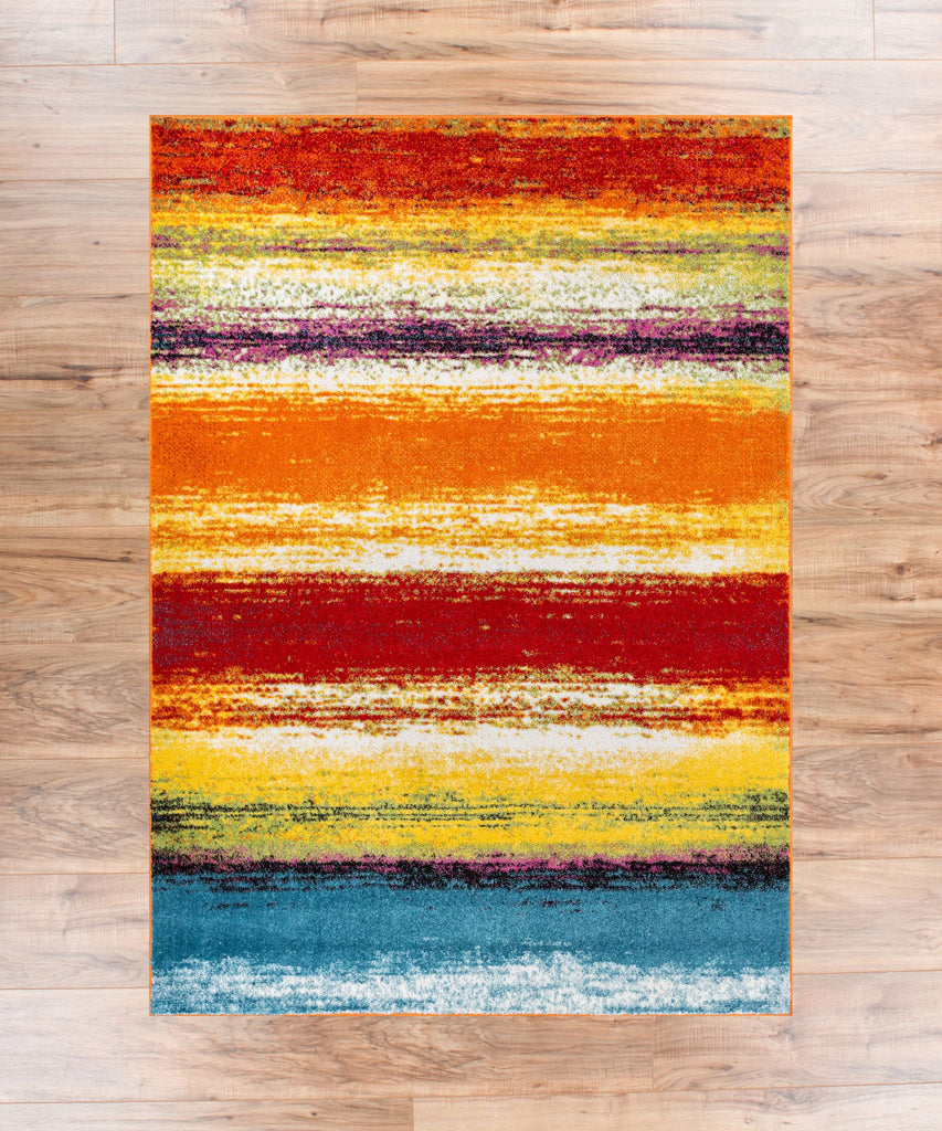 Puglia Multi Stripe Red Orange Yellow Blue Modern Geometric Brush Stroke Area Rug