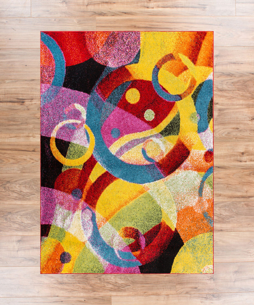 Bubble bright multi circles yellow blue red abstract for Bright blue area rug