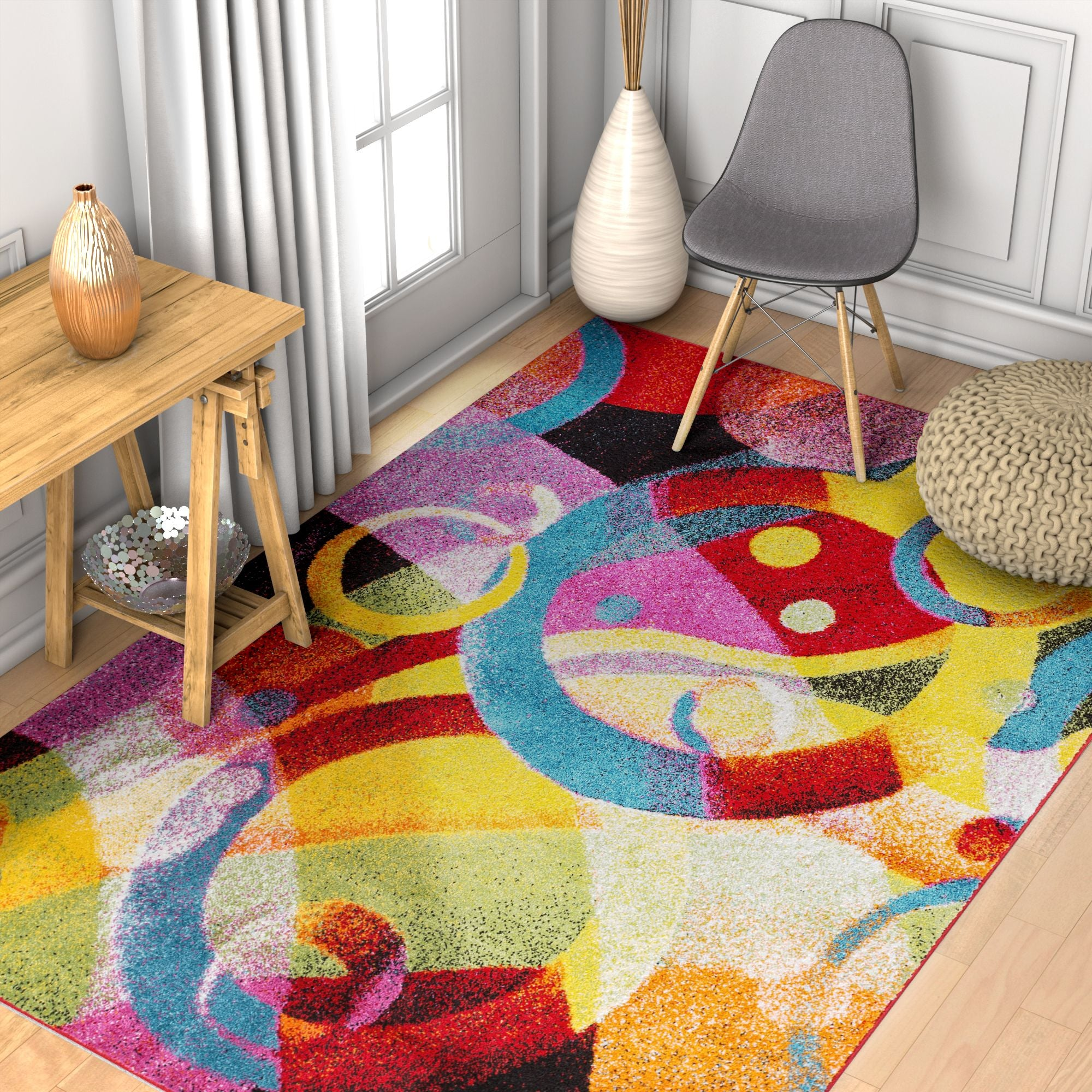 Bubble Bright Multi Circles Yellow Blue Red Abstract Geometric Lines Area  Rug Easy Clean Stain Fade Resistant Shed Free Modern Contemporary Brush  Stroke Painting Art Boxes Thick Soft Plush - RugLots.com