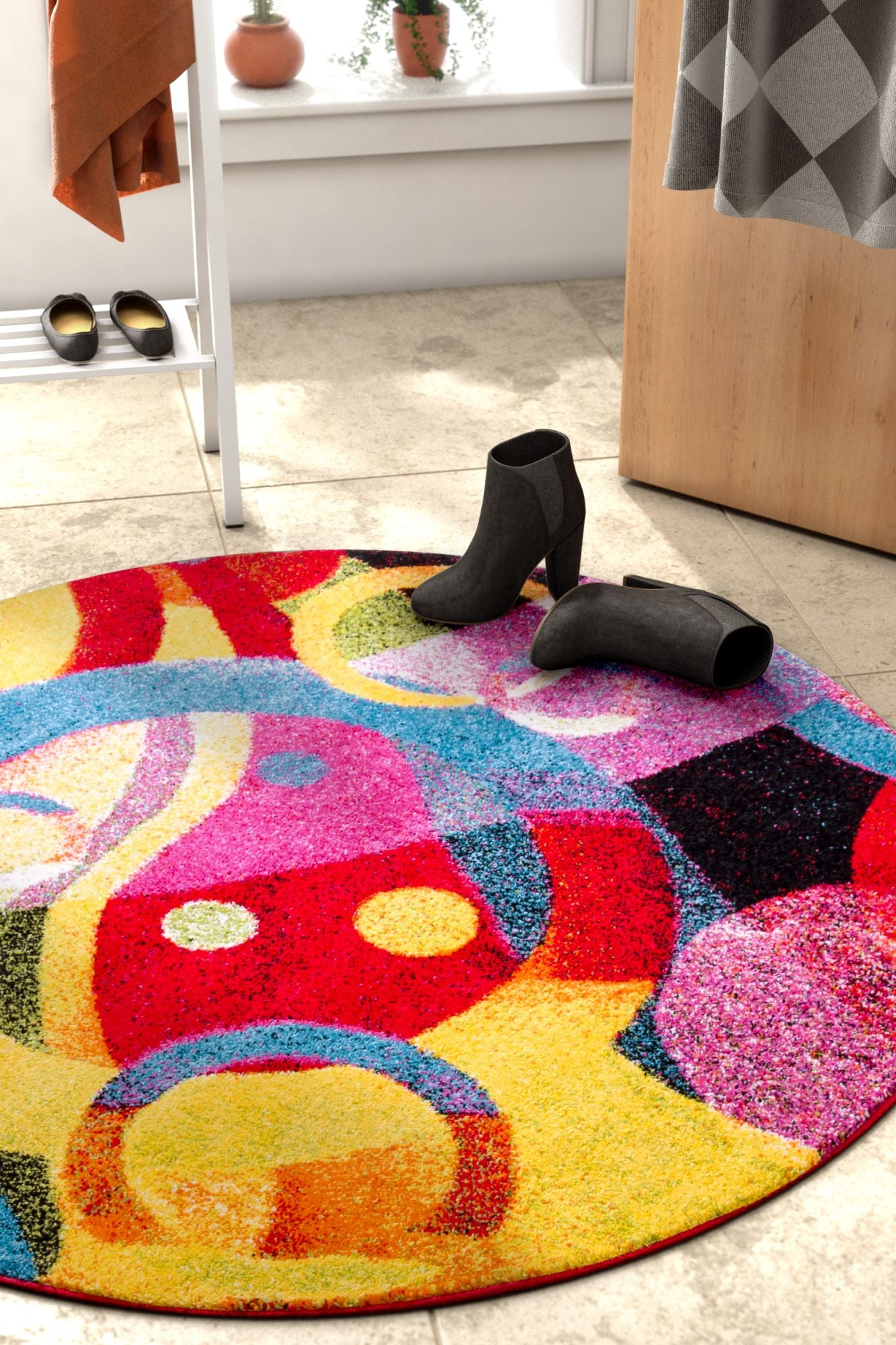 Bubble Bright Multi Circles Yellow Blue Red Abstract Geometric Lines Area Rug Easy