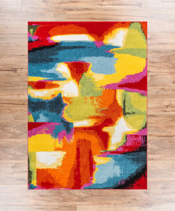 Blooms Multi Abstract Painting Red Orange Yellow Green