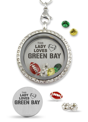 """This Lady Loves Green Bay Packers"" Perfect Pro Football Gift, Infinity Love Floating Charm Living Memory Locket Magnetic Closure 30mm Stainless Steel Pendant Necklace"