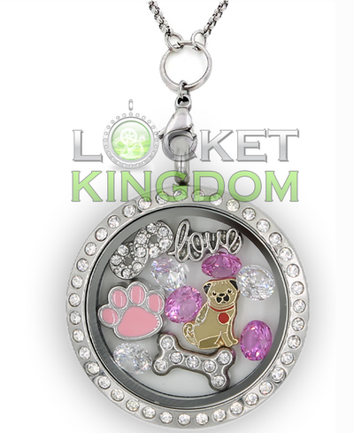 Infinity Love Pugs Charm Locket