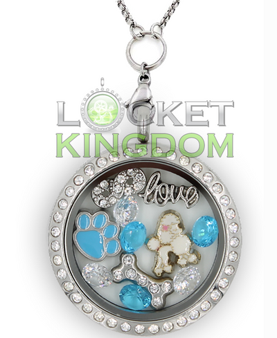 Infinity Love White Poodle Charm Locket