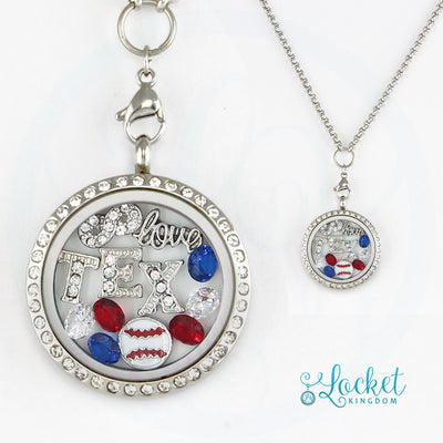 Texas Baseball Charm Necklace