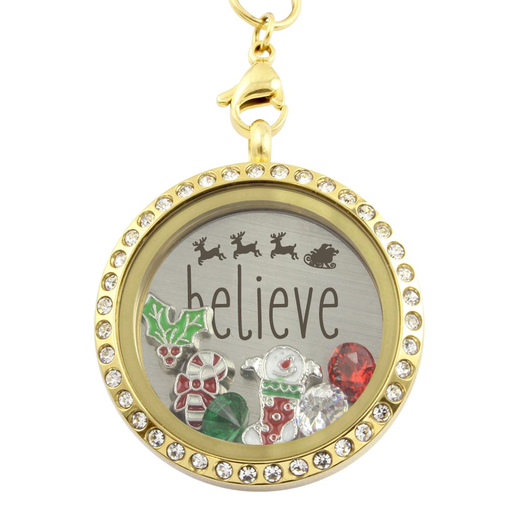 Believe christmas charm necklace locket kingdom believe christmas charm necklace aloadofball Image collections