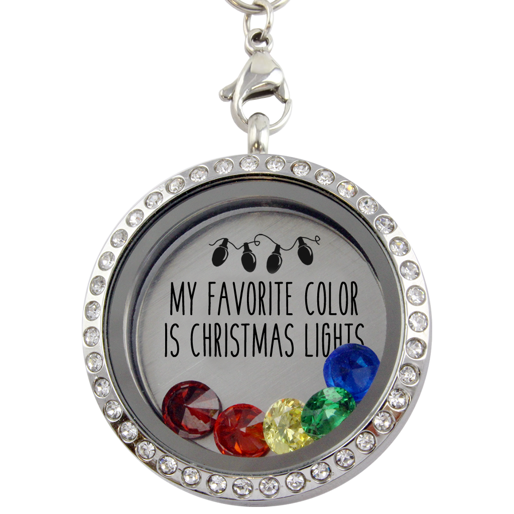 My Favorite Color Is Christmas Lights Charm Necklace Locket Kingdom