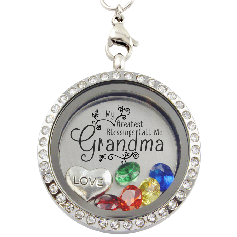 gift or charms mom teardrop for stainless grandma products personalized locket necklace memory lockets floating steel