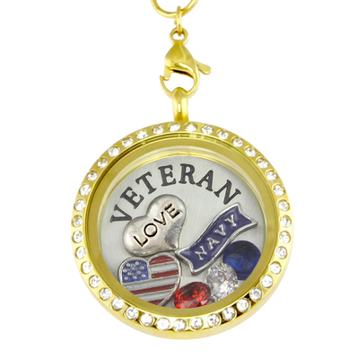 Love My Navy Veteran Charm Necklace