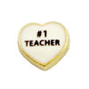 #1 Teacher Heart Charm