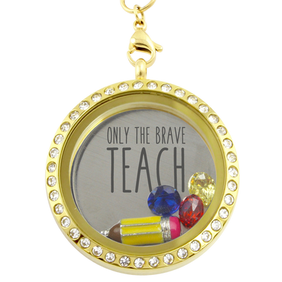 Only the Brave Teach Charm Necklace
