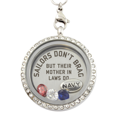 Navy Mother In Laws Brag Necklace