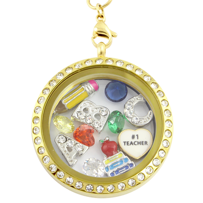 #1 Teacher Charm Necklace
