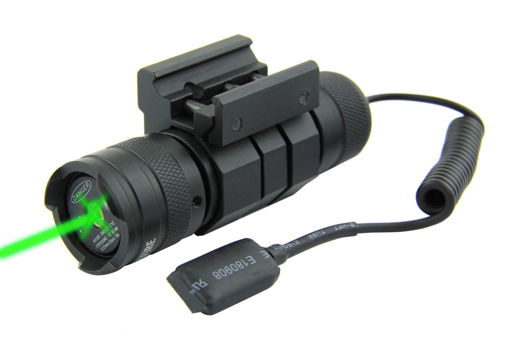 Tacfire Compact Rifle/Shotgun Green Laser with Pressure Switch & On/Off Push Button