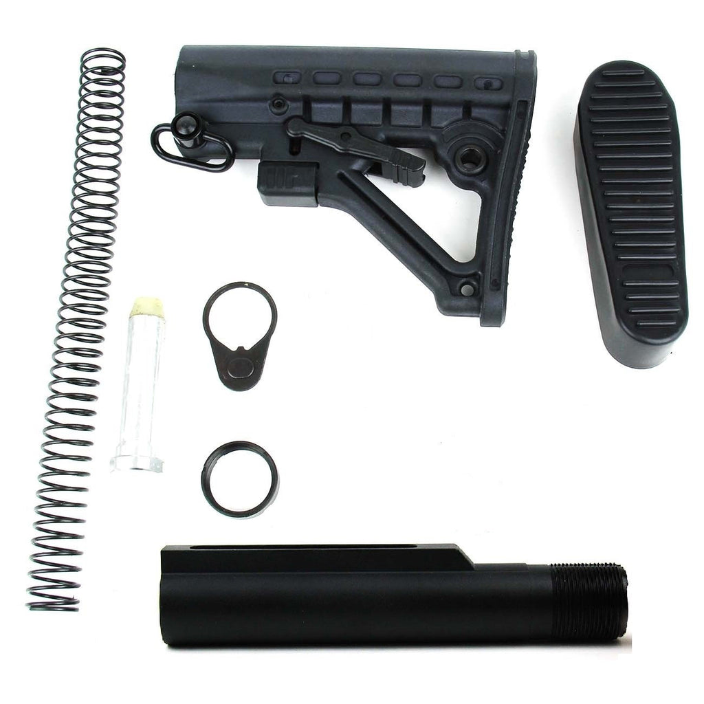 Tacfire AR15 Mil-Spec Buffer Tube Kit with 6 Position Stock/Buttpad