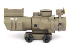 Tacfire 4X32 Prismatic Tri-Illumination Scope with Fiber Optic Front Sight/Back-Up Iron Sight