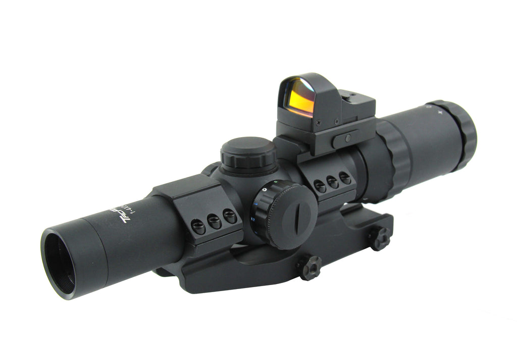 Tacfire 1-4X24 Tri Illumination CQB Riflescope with Mini Red-Dot Combo