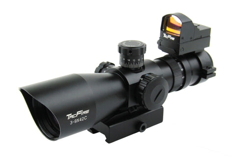 Trinity 3-9X42 Tri Illumination 30MM Riflescope with Set of Rings and Mini Red Dot Combo