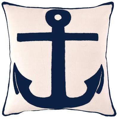 Admiral Navy Ivory Indoor Outdoor Pillow - CITY LIFE CATALOG