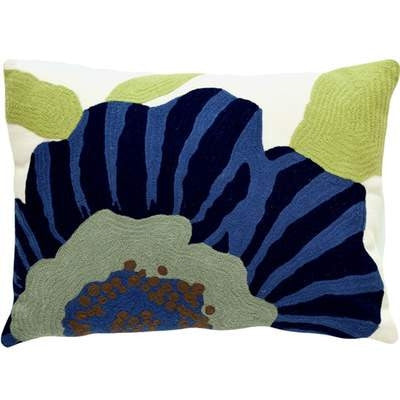 Blue  Floral Indoor/Outdoor Pillow - CITY LIFE CATALOG
