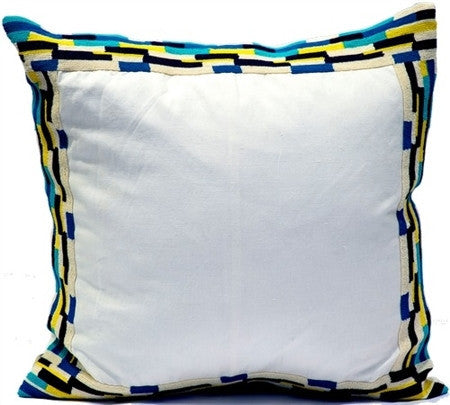 White- Jute Linen and Navy Velvet Pillow - CITY LIFE CATALOG