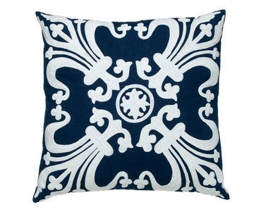 Blue Linen Creme Pillow - CITY LIFE CATALOG