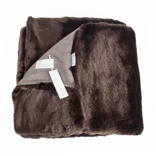 Dark Brown Grizzli Faux Fur Throw by Evelyne Prelonge - GDH | The decorators department Store