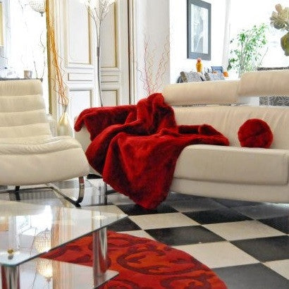 Red Faux Fur Throw by Evelyne Prelonge - GDH | The decorators department Store