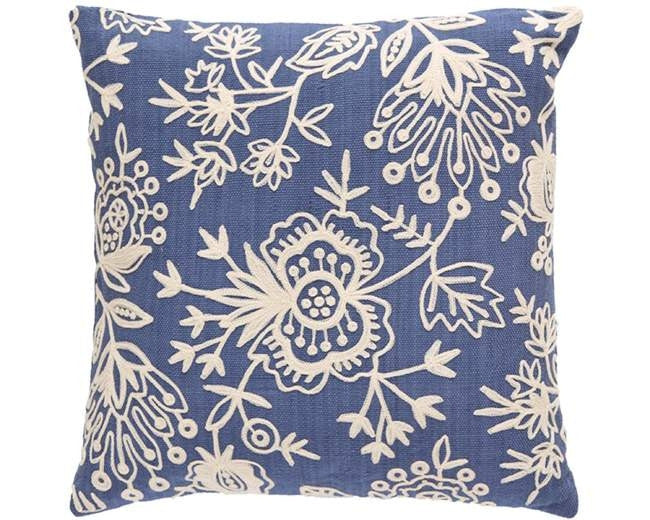 Blue Floral Crewel Indoor Outdoor Pillow - CITY LIFE CATALOG