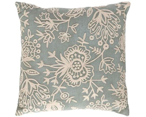 Light Blue Floral Crewel Indoor Outdoor Pillow - CITY LIFE CATALOG