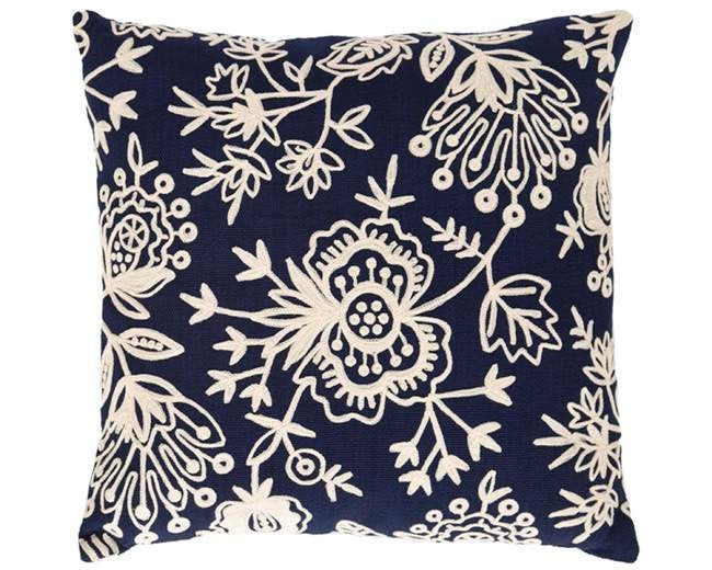 Fresh American Floral Crewel Indoor Outdoor Pillow - CITY LIFE CATALOG