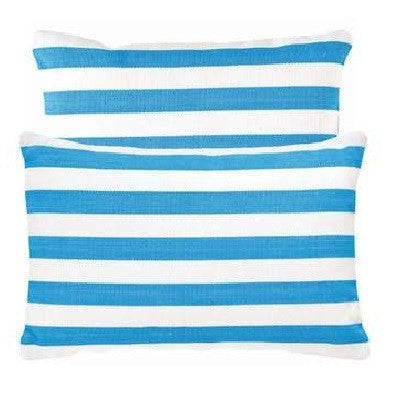 Aqua Trimaran Stripe Indoor Outdoor Pillow - CITY LIFE CATALOG