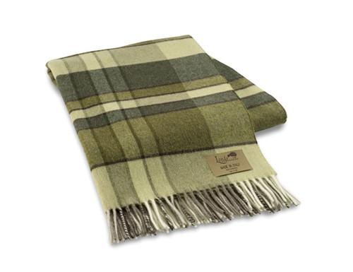 Green Vintage Plaid Lambswool Throw - GDH | The decorators department Store