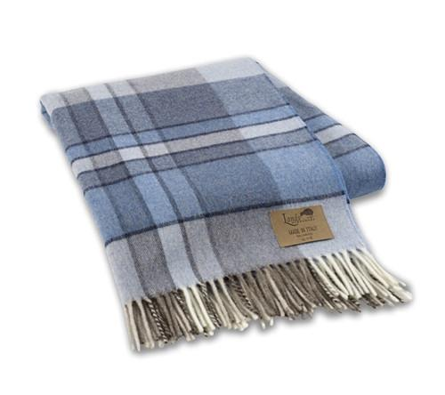 Blue Vintage Plaid Lambswool Throw - GDH | The decorators department Store