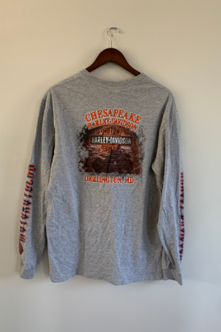 long sleeve harley davidson top grey