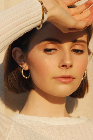 Holiday Hoop Earrings - Gold Vermeil Accessories, Noemie, Shop Serendipity Ave  - Shop Serendipity Ave