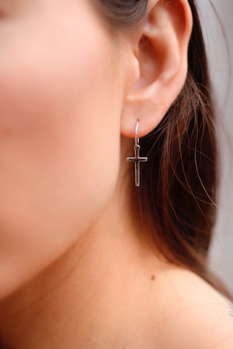 serendipity ave jewellery collab monarc cross earrings georgie cross silver