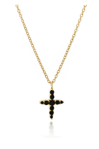 Northern Star Cross Necklace - Gold Vermeil & Black Spinel - Lucky Last Accessories, Shop Serendipity Ave x Monarc Jewellery, Shop Serendipity Ave  - Shop Serendipity Ave