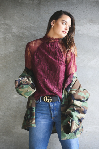 shop serendipity ave online international fashion boutique in red wine lace top with camo jacket