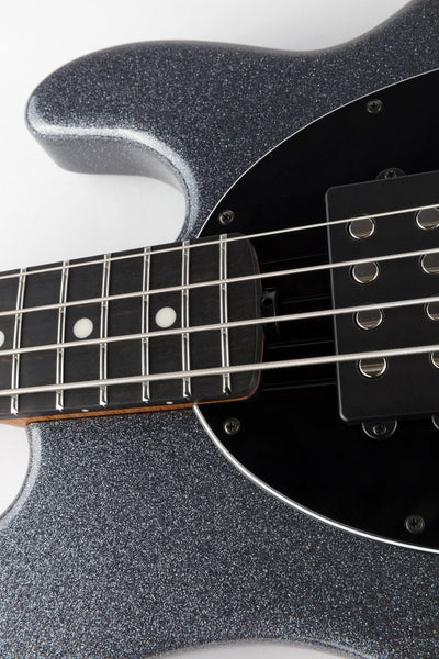 Ernie Ball Music Man StingRay 4 String HH - Charcoal Sparkle with Roasted Maple Neck and Ebony Fingerboard
