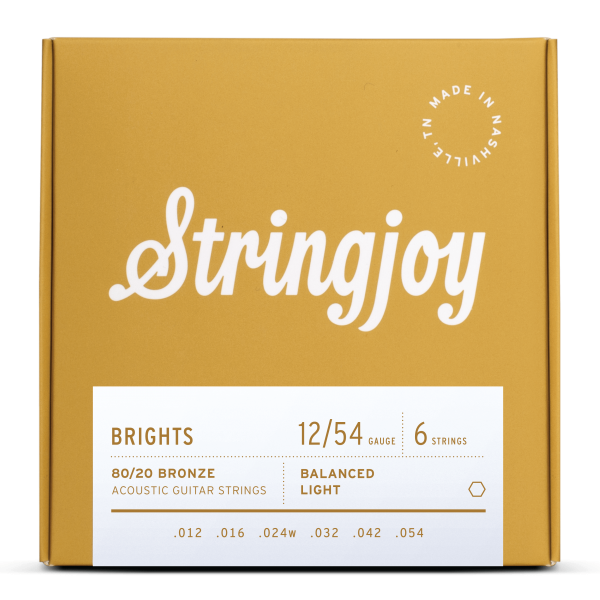 Stringjoy Brights | Light Gauge (12-54) 80/20 Bronze Acoustic Guitar Strings